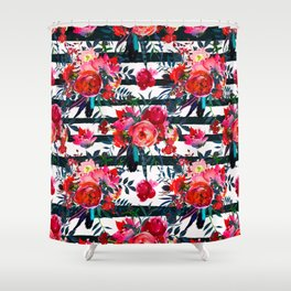 Magenta pink fuchsia black white watercolor floral stripes Shower Curtain