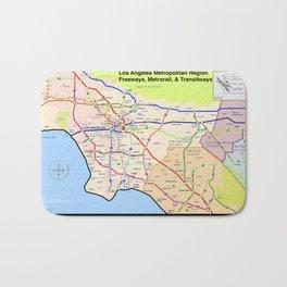 A subway style Map of Los Angeles Bath Mat