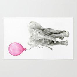 Elephant Watercolor Pink Balloon Whimsical Baby Animal Nursery Girl Art Rug