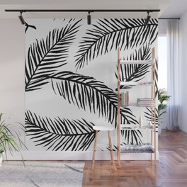 Black & White Palm Leaves Wall Mural