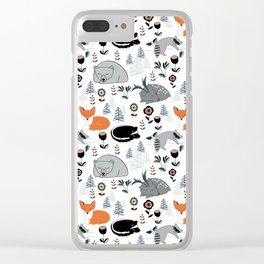 Woodland Nap Time Clear iPhone Case