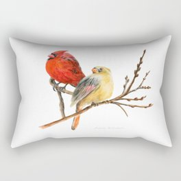 The Perfect Pair - Male and Female Cardinal by Teresa Thompson Rectangular Pillow