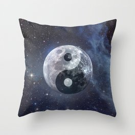 Yin Yang Moon Throw Pillow
