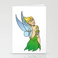 tinker bell Stationery Cards featuring Tinker Bell by NOBODY's Art