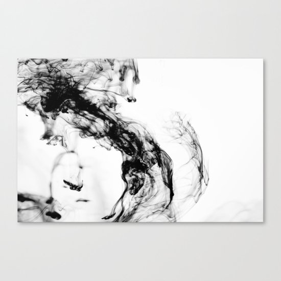 MONOCHROME MARBLE / INDIAN INK IN WATER Canvas Print