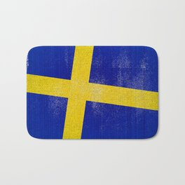 Swedish Distressed Halftone Denim Flag Bath Mat