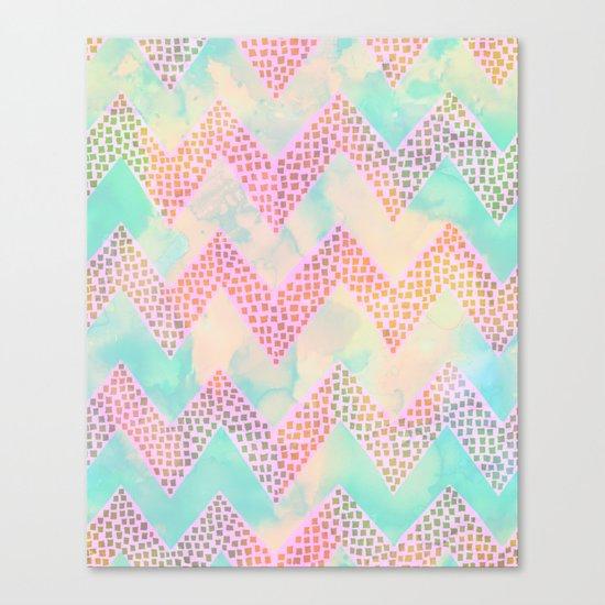 Little Squares Chevron - Pastel Canvas Print