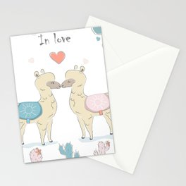 Llamas In Love Stationery Cards