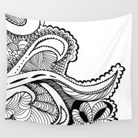 zentangle Wall Tapestries featuring zentangle by Pinkspoisons