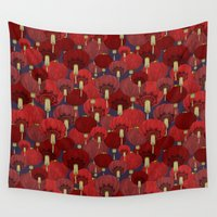 lanterns Wall Tapestries featuring Chinese Lanterns by Deborah Panesar Illustration