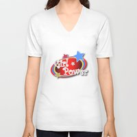 girl power V-neck T-shirts featuring Girl Power by Vannina
