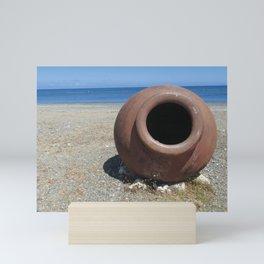Traditional Greek Terracotta Pot on the Beach Design Mini Art Print