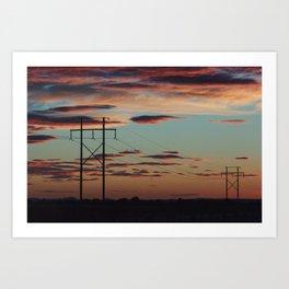 Sunset Powerlines Art Print
