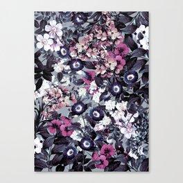 Forest Night Garden Gray Canvas Print