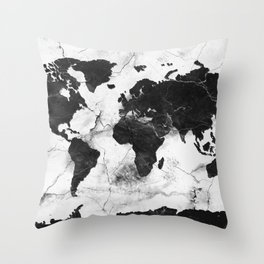 world map marble 3 Throw Pillow
