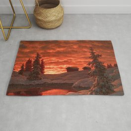Classical Masterpiece 'Sunset in Winter' by Ivan Fedorovich Choultsé Rug