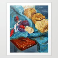 Still Life with Feathered Mask Art Print