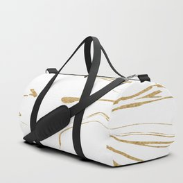 White With Gold Liquid Paint Duffle Bag