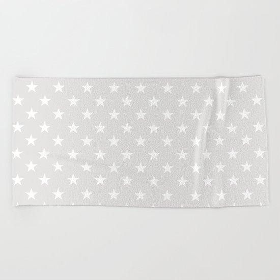 Stars (White/Platinum) Beach Towel