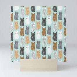 Scribble Kittens on Mint Mini Art Print