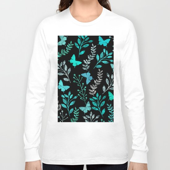 Watercolor flowers & butterflies IV Long Sleeve T-shirt