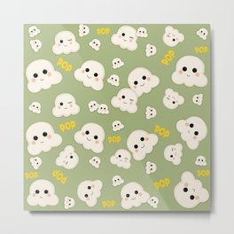 Cute Kawaii Popcorn pattern Metal Print