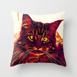 squinting maine coon cat vector art late sunset Throw Pillow
