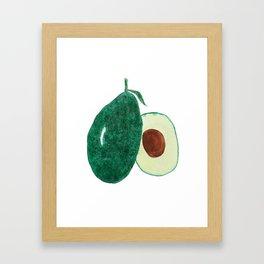 green avocado watercolor Framed Art Print