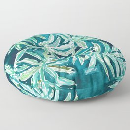 SANTA CRUZIN' Navy Tropical Palm Leaves Floor Pillow