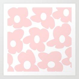Large Baby Pink Retro Flowers on White Background #decor #society6 #buyart Art Print