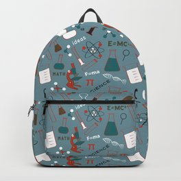 Blue Science and Math Icons Backpack