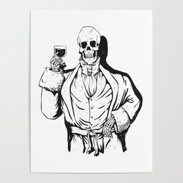 Vampire skeleton holding blood cup -  black and white Poster