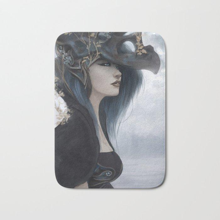 Bluish Black - Mysterious fantasy mage girl portrait Bath Mat