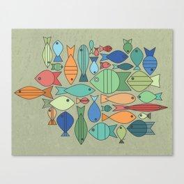 Retro Fish White Canvas Print