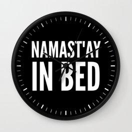 NAMAST'AY IN BED (Black & White) Wall Clock