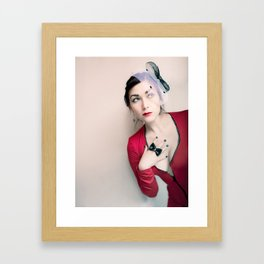 """Who Me?"" - The Playful Pinup - Red and Black Pin-up Girl by Maxwell H. Johnson Framed Art Print"