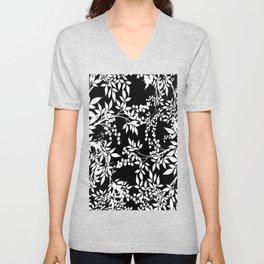 Toile White and Black Tangled Leaves Pattern Unisex V-Neck