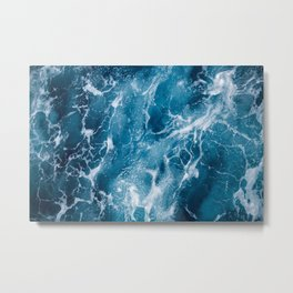 Blue deep sea foaming water - vintage ocean surface background  Metal Print