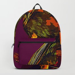 budgie hangs upside down on the branch vector art late sunset Backpack