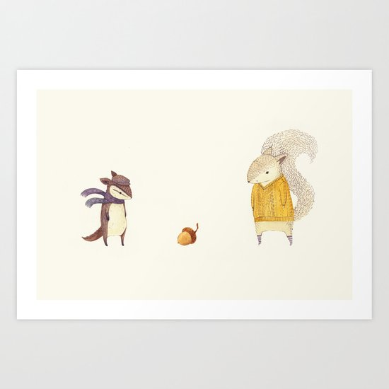 The Last Acorn of Autumn Art Print