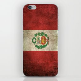 Old and Worn Distressed Vintage Flag of Peru iPhone Skin