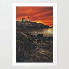 Maine Lighthouse Sunrise Art Print