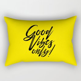 Good Vibes Only! (Black on Yellow) Rectangular Pillow