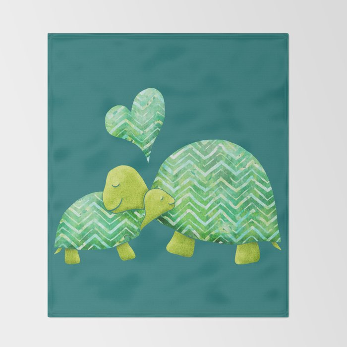 Sweet Turtle Hugs with Heart in Teal and Lime Green Throw Blanket