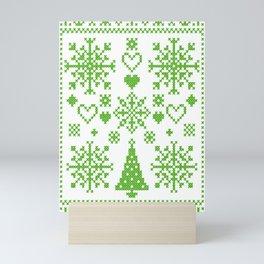 Christmas Cross Stitch Embroidery Sampler Green And White Mini Art Print