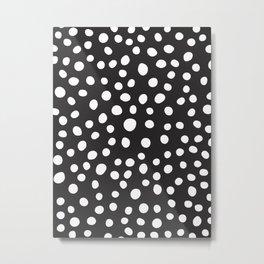 6-303-0n Black & White, Big Decorative polka dots, Abstract Boho   decor Metal Print