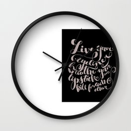 Beauty quote - Hand-lettering - Eyeliner, lipstick - Girl boss Wall Clock