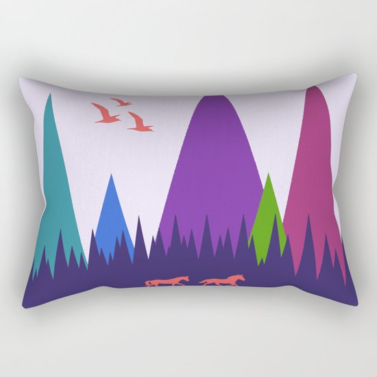Two Horses Rectangular Pillow