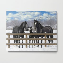 Black Quarter Horses In Snow Metal Print