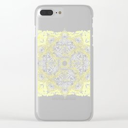 Sunny Doodle Mandala in Yellow & Grey Clear iPhone Case